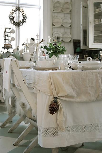Come decorare la tavola di natale in stile shabby chic for Tovaglie shabby