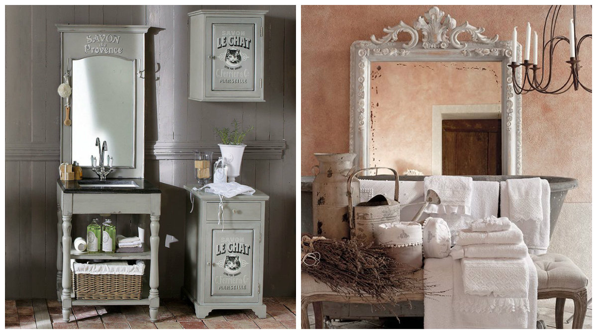 Idee per il bagno shabby chic provenzale e country dai for Arredamento country chic ikea