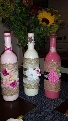 Bicchieri e bottiglie a tutto shabby chic arredamento - Bottiglie vetro decorate ...