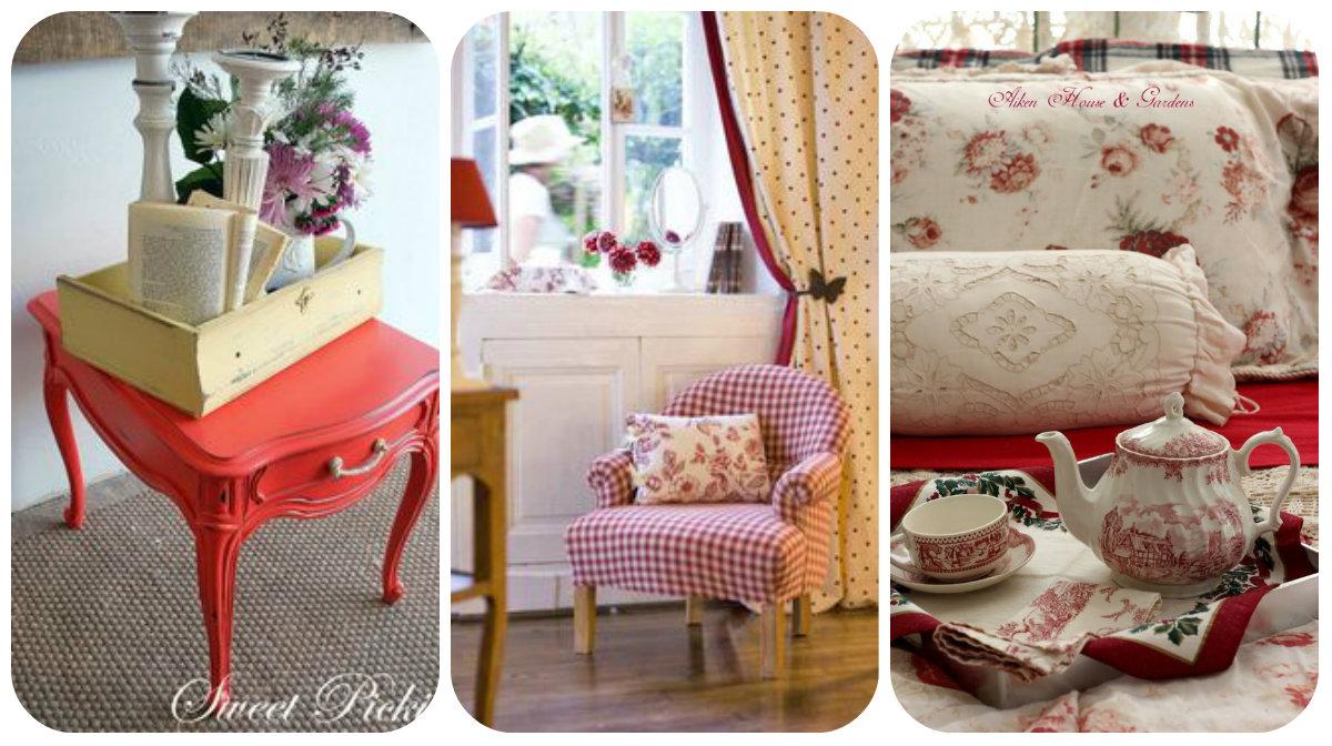 Il rosso nella camera da letto shabby chic arredamento - Arredamento provenzale camera da letto ...