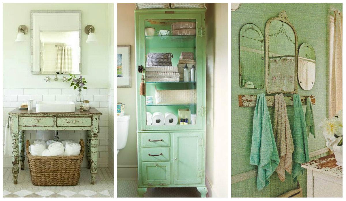 Credenza Shabby Per Bagno : Il verde menta nel bagno shabby chic idee romantiche per