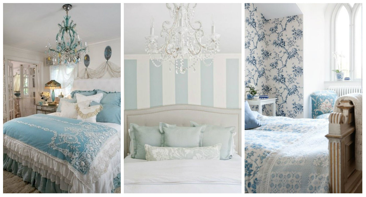 Dettagli azzurri nella camera da letto shabby chic arredamento provenzale - Camera da letto boho chic ...