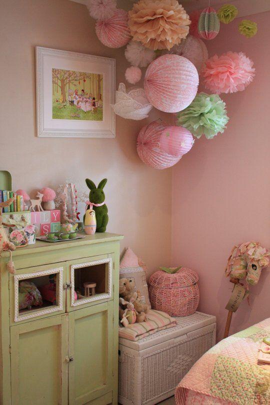 Idee e dettagli per decorare la camera da letto shabby chic di colore verde menta arredamento - Camerette country chic ...