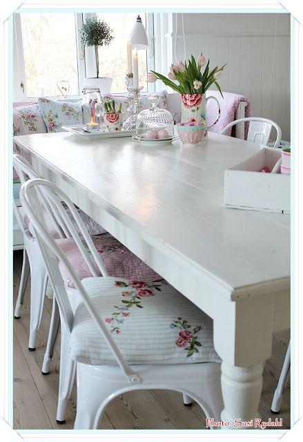 Cuscini shabby chic per le sedie della cucina arredamento provenzale - Cuscini per sedie da cucina ...