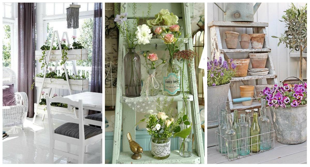 Scala porta fiori e shabby chic un binomio perfetto idee for Fiori di stoffa shabby chic