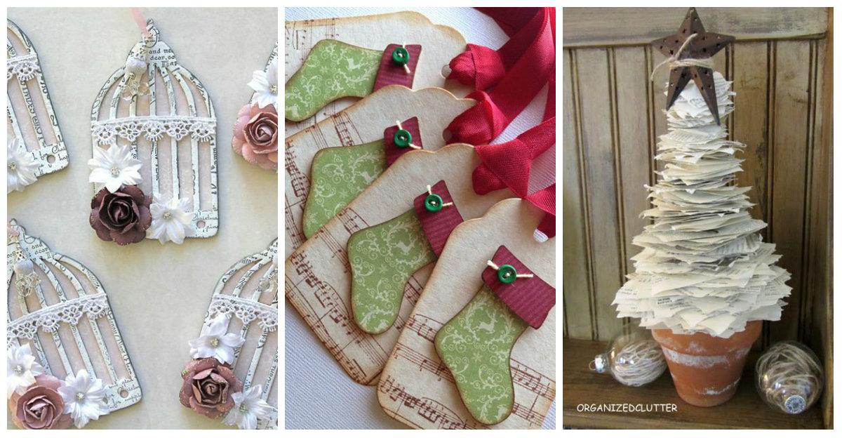Decorazioni natalizie spazio alla carta ma in stile - Decorazioni natalizie stile shabby chic ...