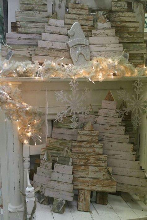 Decorazioni natalizie con il legno in stile Shabby Chic, idee e ...