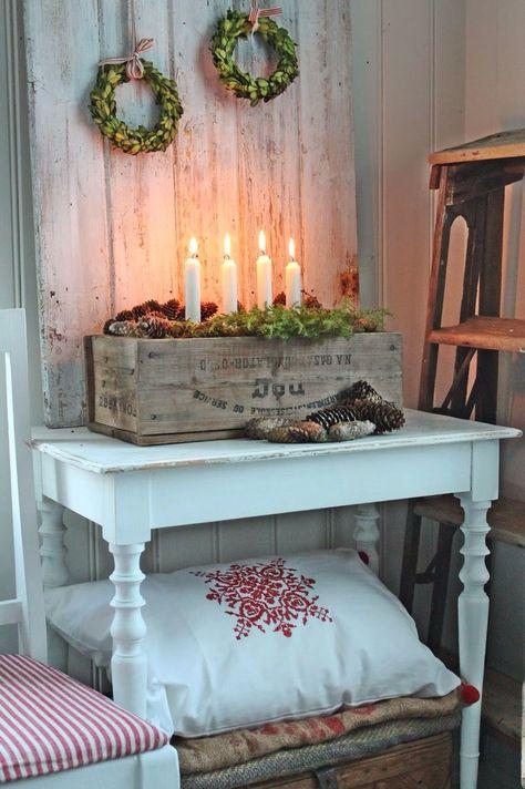 Decorazioni natalizie con il legno in stile shabby chic - Decorazioni shabby natalizie ...