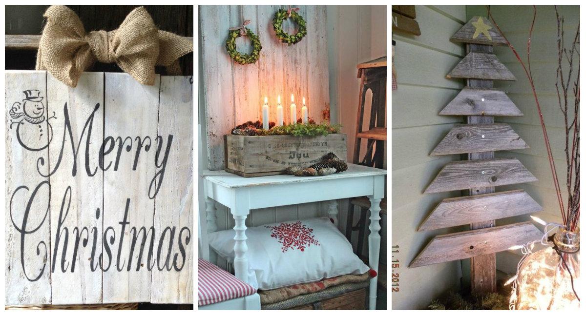 Decorazioni natalizie con il legno in stile shabby chic - Decorazioni natalizie stile shabby chic ...