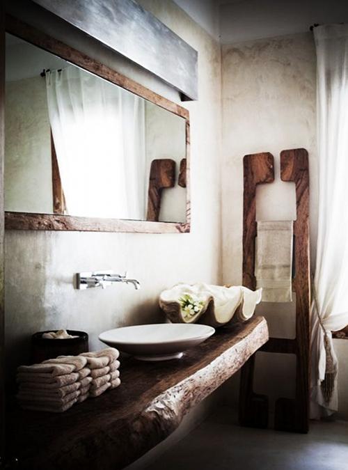 lavandino specchio legno