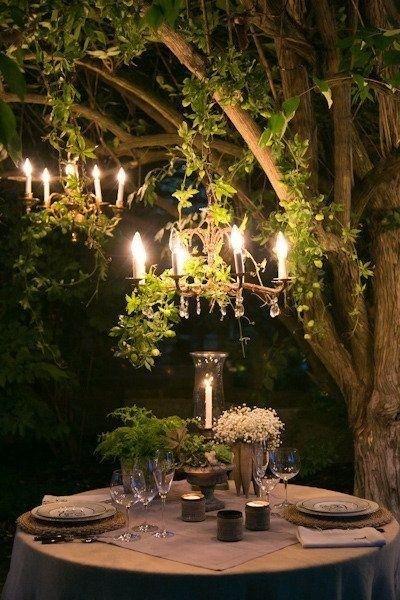 cena outdoor lampadario