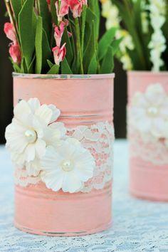 barattoli latta rosa pizzo fiori