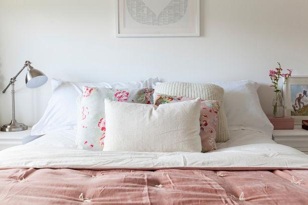 letto shabby chic coperta rosa