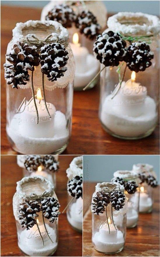 candele barattoli neve